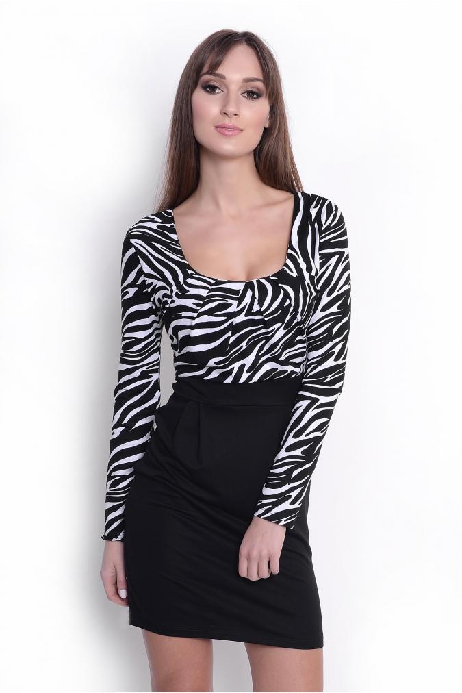 Šaty s dlouhým rukávem a řasením v dekoltu a bocích motiv zebra L