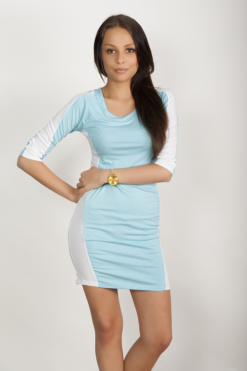 4e8ceb75be1 Dvoubarevné šaty s delším rukávem barva azurová empty