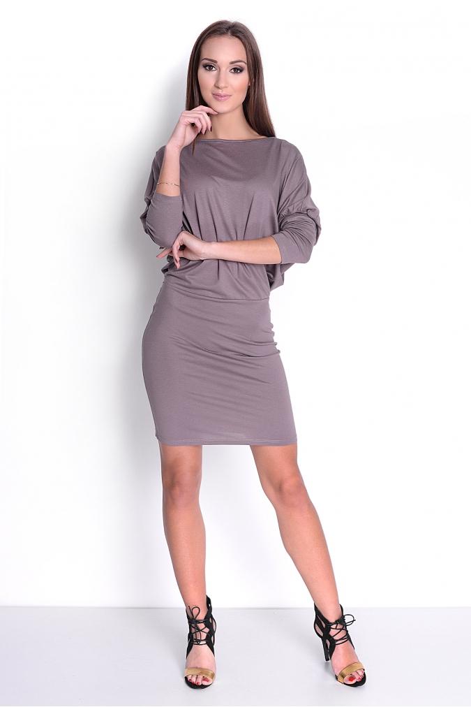 f1cebab0552 Šaty s netopýřími rukávy barva kapučíno