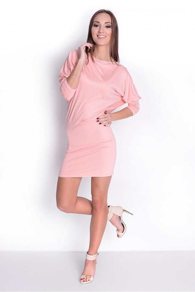 Šaty s netopýřími rukávy barva broskvová 8e7ee3f21d