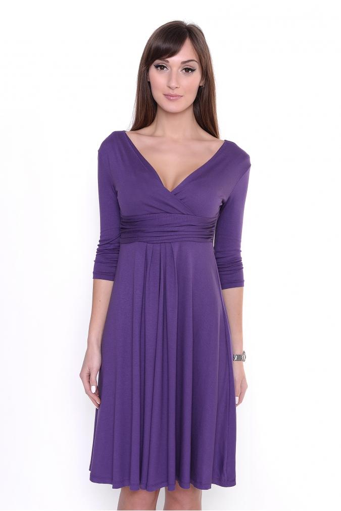 1a01e9fccd8 Delší vycházkové šaty s tříčtvrtečním rukávem barva fialová empty