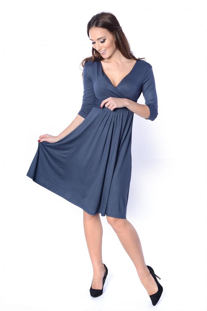 Delší vycházkové šaty s tříčtvrtečním rukávem barva grafitová empty a99afe9978