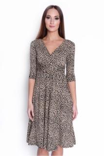 f2613ab8c3c Delší vycházkové šaty vzor hnědý panter